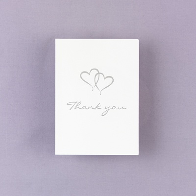 Blank Thank You Card With Silver Foil Hearts
