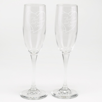 Angelic Hearts Toasting Flutes