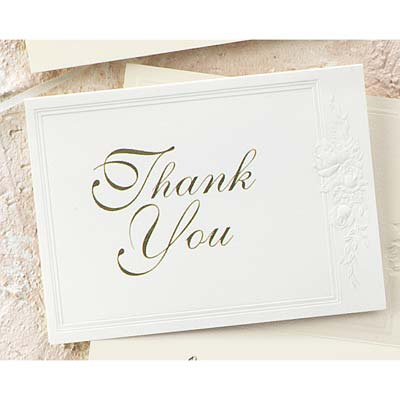 Triple Panel Embossed Roses Thank You - Printed