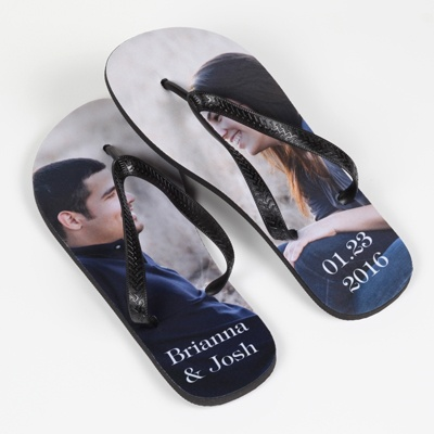 Women's Black-Strap Photo Flip-Flops - Large