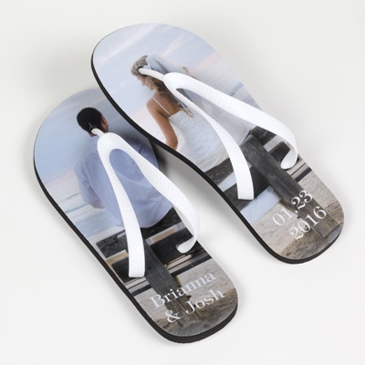 Women's White-Strap Photo Flip-Flops - Large