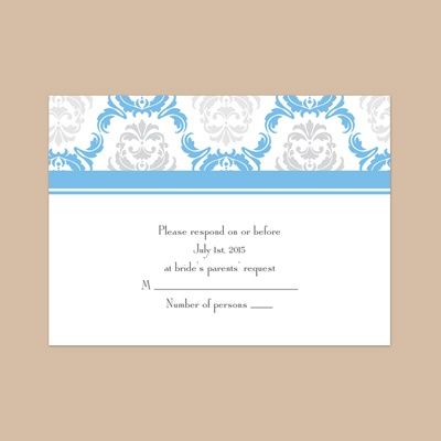 Damask Arches - Cornflower - Response Card and Envelope