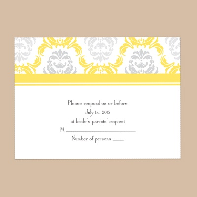 Damask Arches - Canary - Response Card and Envelope