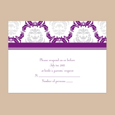 Damask Arches - Grapevine - Response Card and Envelope