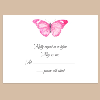 Butterfly in Lipstick - Response Card and Envelope