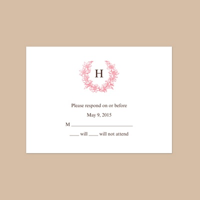 Floral Crest - Petal - Response Card and Envelope