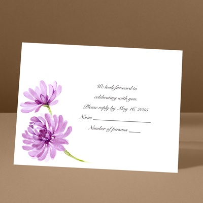 Watercolor Peony - Amethyst - Response Card and Envelope