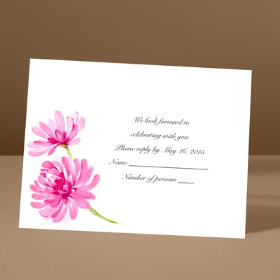 Watercolor Peony - Lipstick - Response Card and Envelope