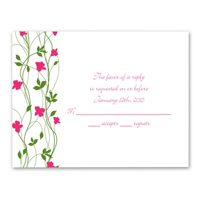 Climbing Vines - Fuchsia - Response Card and Envelope