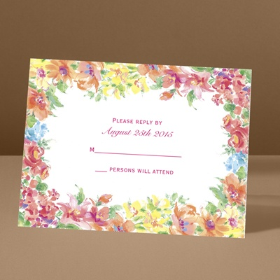 Brilliant Florals - Pink - Response Card and Envelope
