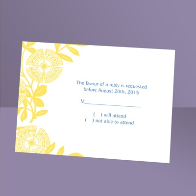 Modern Floral - Canary - Response Card and Envelope