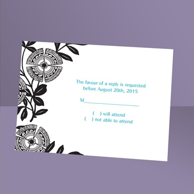 Modern Floral - Ebony - Response Card and Envelope
