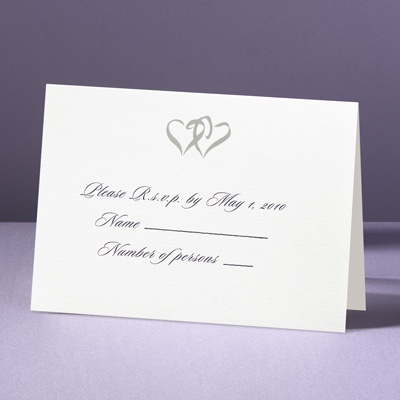 Silver Hearts - Response Card and Envelope