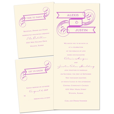 Soft Swirls - Ecru - Separate and Send Invitation