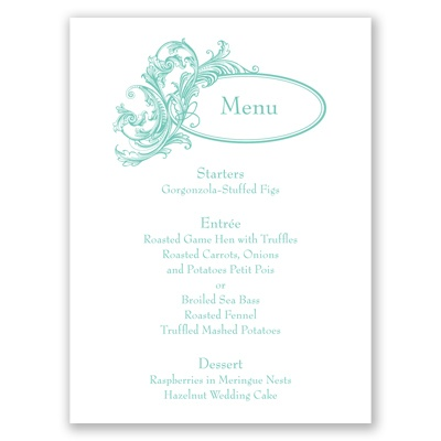 Filigree Wisps - Menu Card