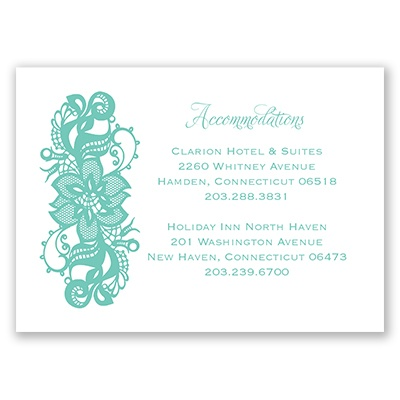 Lovely Lace - Accommodations Card