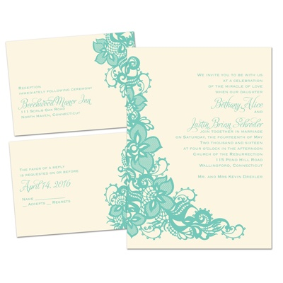 Lovely Lace - Ecru - Separate and Send Invitation