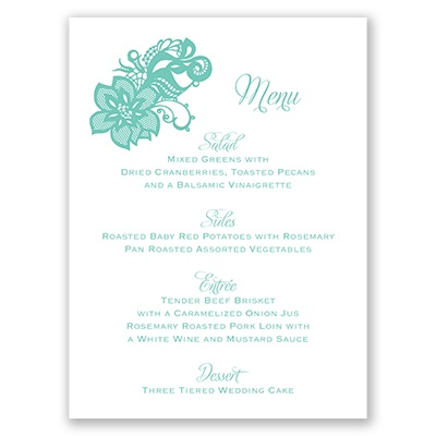 Lovely Lace - Menu Card