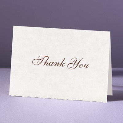 Parchment Deckle - Thank You Card and Envelope