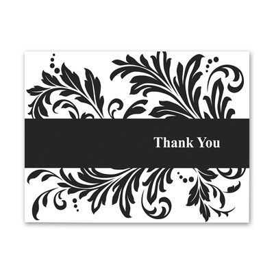 Feathered Damask - Thank You Note Folder and Envelope