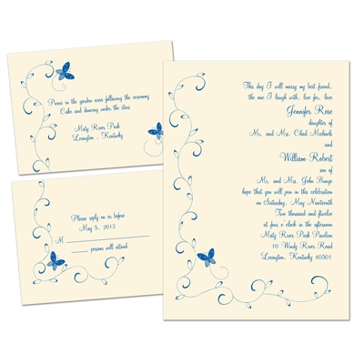 Butterflies - Ecru - Separate and Send Invitation