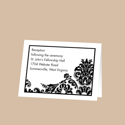 Dashing in Damask - Reception Card