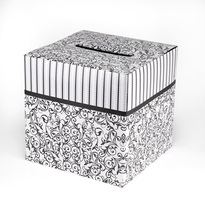Damask and Stripes Card Box