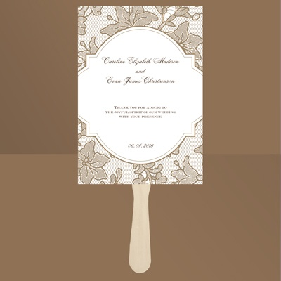 Vintage Lace - Latte - Favor Fan