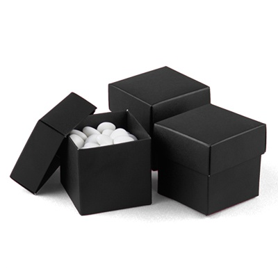 Black Favor Boxes (2-Piece) - Blank