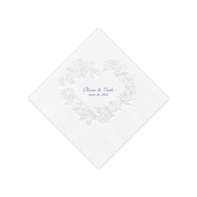 White Pearl Floral Heart Cocktail Napkin