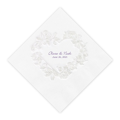 White Pearl Floral Heart Dinner Napkin