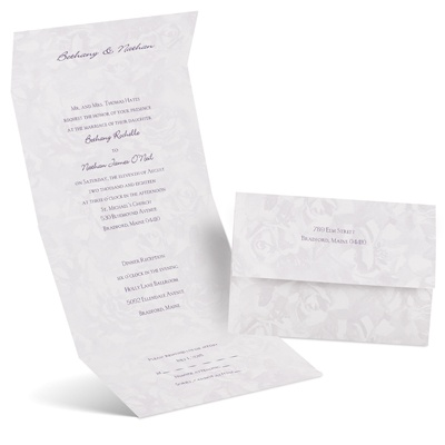 Lavender Roses - Seal and Send Invitation