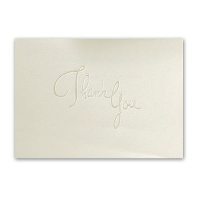 Pearl Embossed Thank You On Ecru - Printed