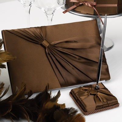 Mocha Satin Guest Book and Pen Set