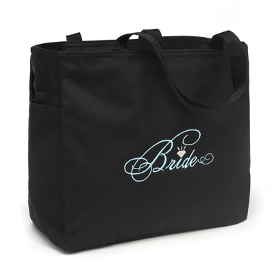 Black and Aqua Bride Tote Bag