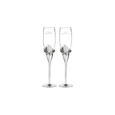 Silver Calla Lily Toasting Flutes