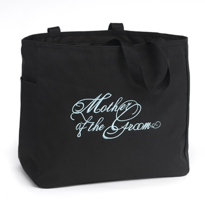 Black and Aqua Mother of the Groom Tote Bag