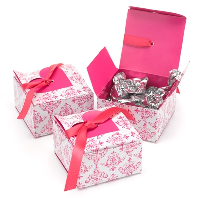 Fuchsia Damask and Heart Favor Boxes