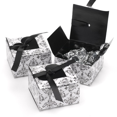 Black Damask and Heart Favor Boxes