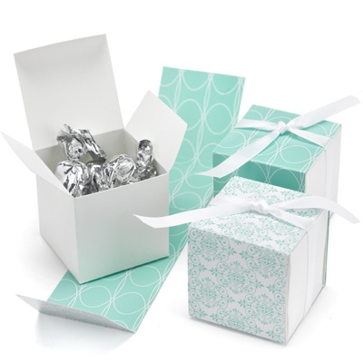 Aqua Damask Reversible Wrap Favor Boxes