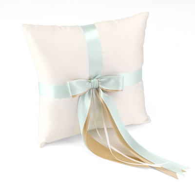 Custom Ribbons Ivory Ring Pillow