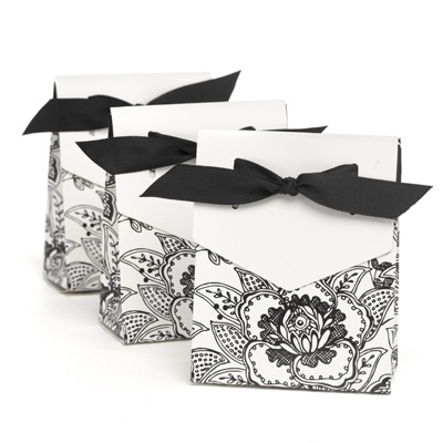White Vintage Floral Favor Boxes