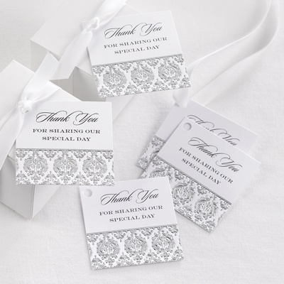 Silver Damask Favor Tags