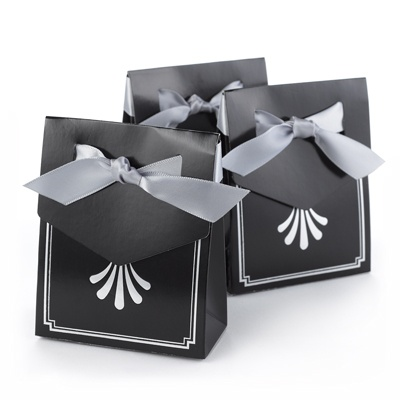 Silver Art Deco Tent Favor Boxes