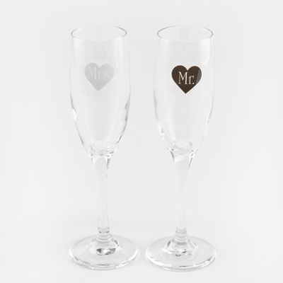 Mr. and Mrs. Heart Toasting Flutes