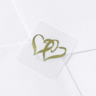 Gold Foil Hearts on Clear Seal