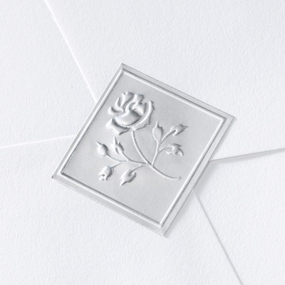 Silver Diamond Shaped Rose Seal