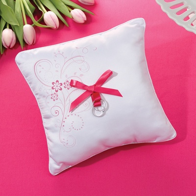 Pink Flowers Ring Pillow