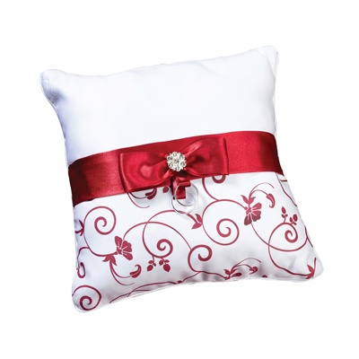 Red Floral Ring Pillow
