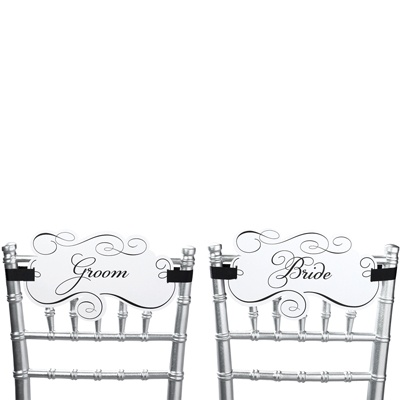 Bride and Groom Filigree Chair Signs